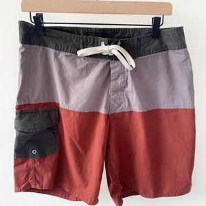 Brixton Men's Board Shorts Burgundy Colorblock 32